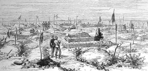 """""""Gleich hinter den Haufen, in Richtung El Teb, war ein flacher Hügel, gekrönt von hunderten kleiner Stöcke, an denen kleine Stoffstreifen in verschiedenen Farben im Wind wehten. Zunächst dachte man, dass es sich um Fahnen des Feindes handelte, die ihre Stellung markieren sollten; das taten sie auch tatsächlich, allerdings markierten sie die Position von 100 gefallenen Arabern, die in der ersten Schlacht von El Teb ihr Leben gelassen hatten. Die Praxis, einen Steinhaufen über den Toten aufzuschichten, diesen mit weißen Quarzkieseln oder ungewöhnlich geformten Steinen zu schmücken und mit einem Fahnenstock zu markieren, war im Sudan sehr verbreitet."""" (Bennet Burleigh)"""