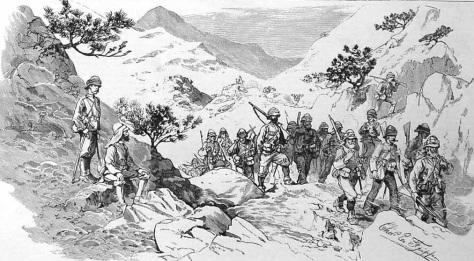 Australische Infanterie bei einem Marsch durch die Berge.