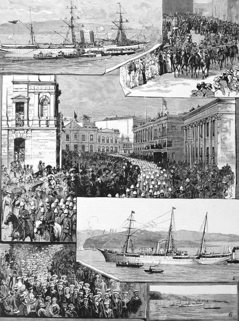 Die triumphale Verabschiedung und Einschiffung der Australischen Truppen in Sydney.
