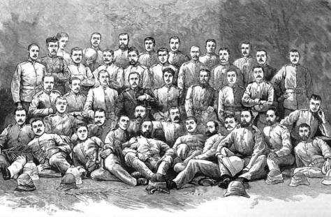 Ein Gruppenfoto des Australischen Detachement, welches einen Teil des Camel Corps in der Suakin Kampagne von 1885 bildete.