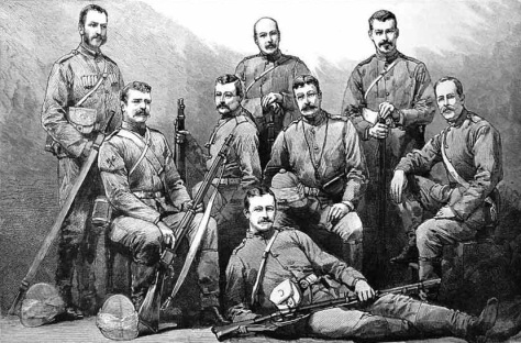 Männer des Stabes und des Transport Corps in ihren Khaki Uniformen. Das Foto entstand nach ihrer Rückkehr.