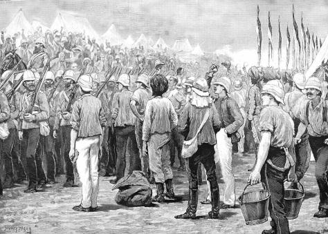 Die Australischen Soldaten marschieren in ihren roten Uniformen in das Lager von Suakin.