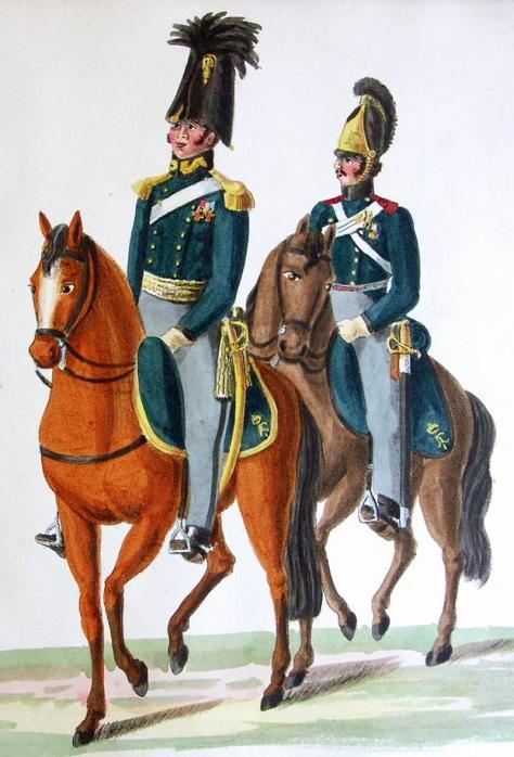 Offizier und Kanonier der Reitenden Artillerie Russland