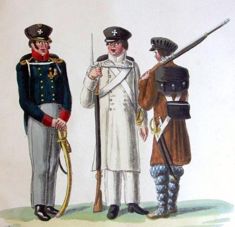 Offizier und Soldaten der Landwehr Russland